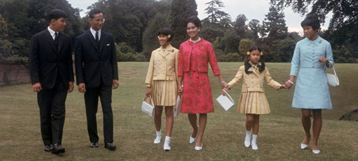 Thai Royalty...King Bhumibol and Queen Sirikit of Thailand with their children at King's Beeches, their private residence in Sunninghill, Berkshire, 27th July 1966. From left to right, Crown Prince Maha Vajiralongkorn, the King, Princess Sirindhorn, the Queen, Princess Chulabhorn and Princess Ubol Ratana.