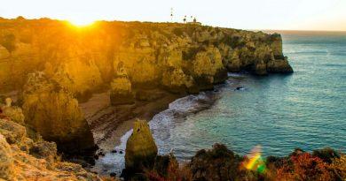 Sonnenuntergang an der Fels- Algarve