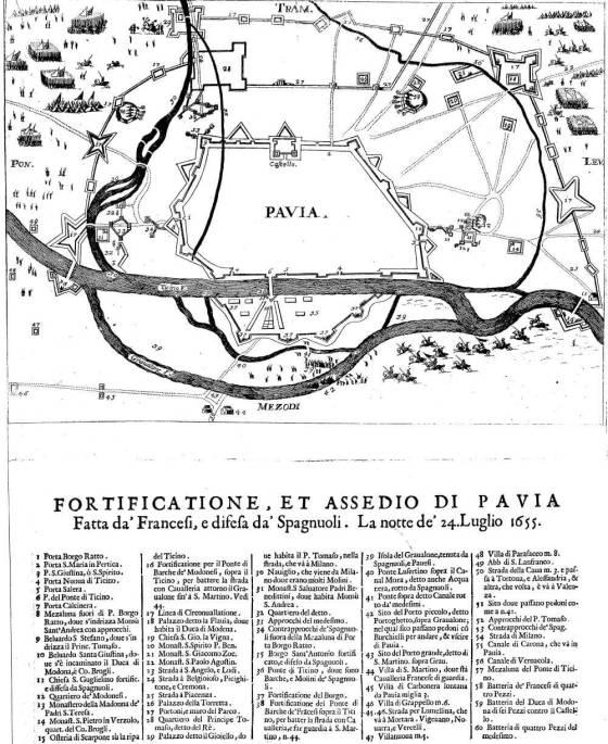 mappa dell'assedio di Pavia del 1655