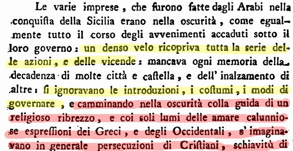 L'estratto dell'opera di Vella da cui nasce il mito della sicilia araba.