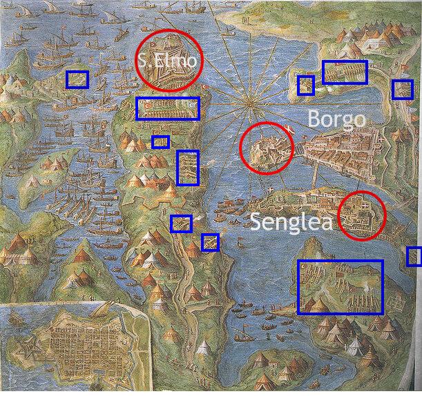 1565 mappa assedio di malta