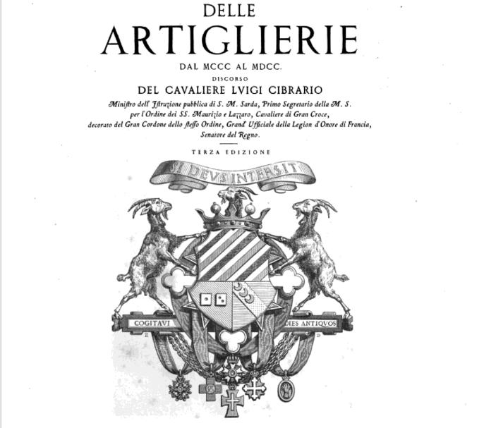 Delle artiglierie dal 1300 al 1700