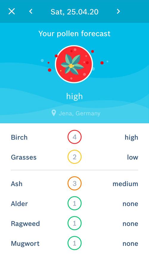 Screenshot Vivatmo App mit Pollenflugvorhersage