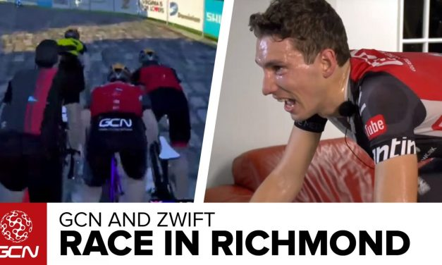 What is Zwift racing like? Watch live commentary of GCN's Simon Richardson racing in Richmond.
