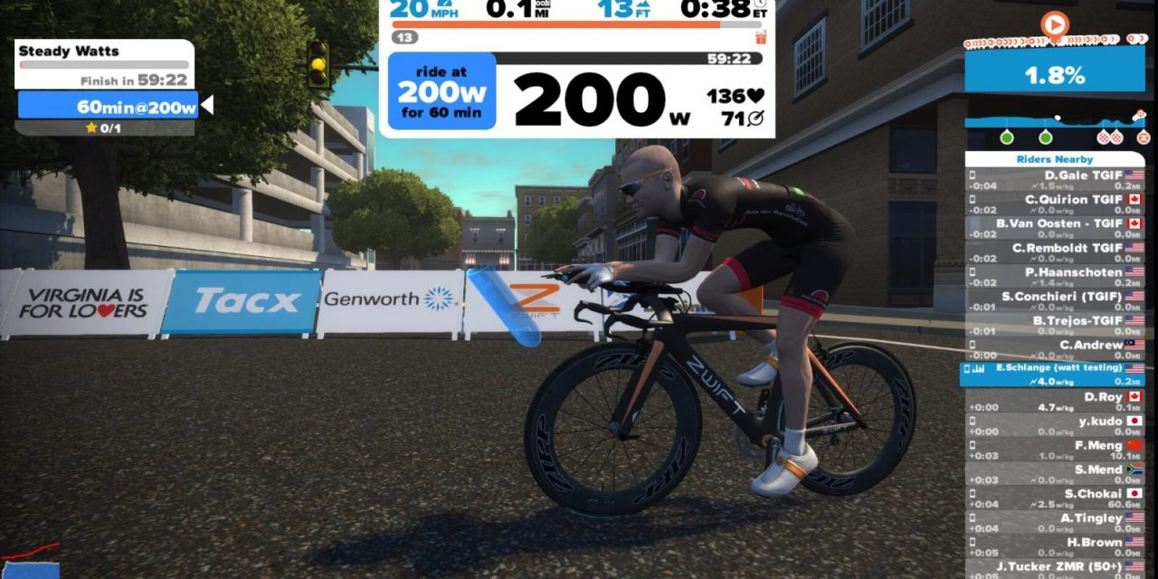 Zwift Weight/Watt/Equipment Speed Tests