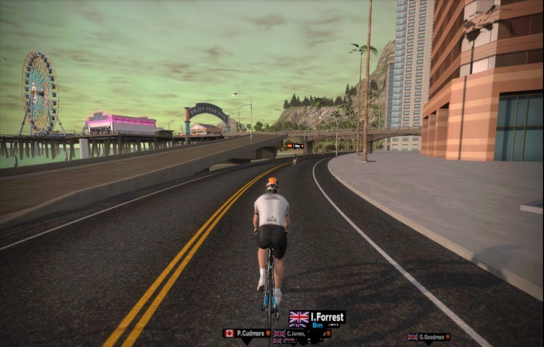 Zwift running with minimal interface elements