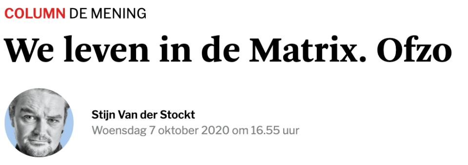 We leven in de Matrix. Ofzo