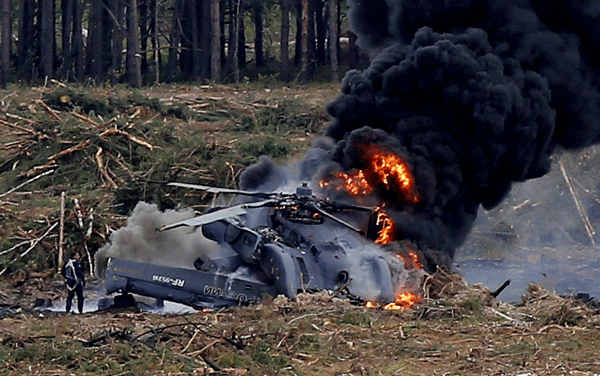 News in pictures: Russian Helicopter crash in Syria, Pilots killed