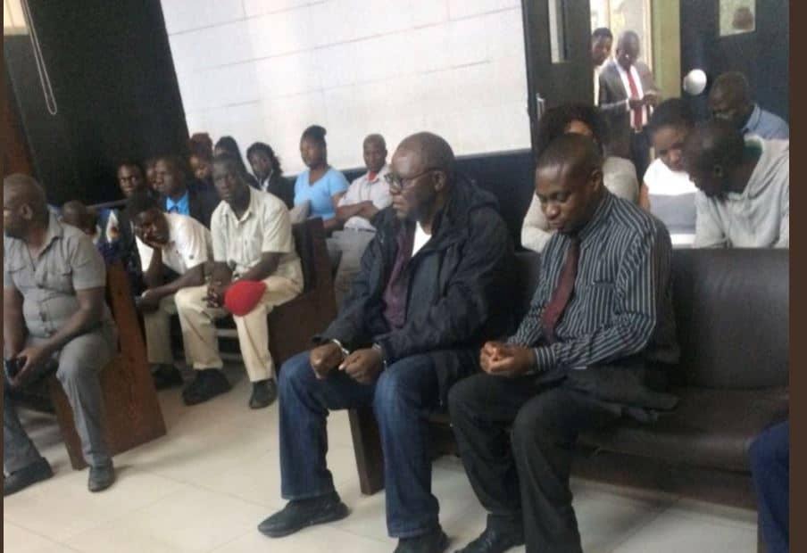 Picture: Handcuffed Tendai Biti in court