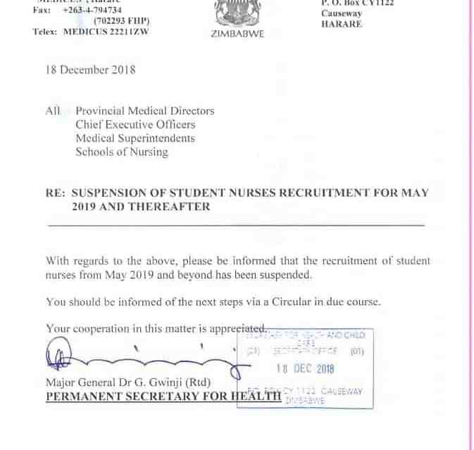 LATEST: Mnangagwa's government suspends recruitment of student nurses in 2019