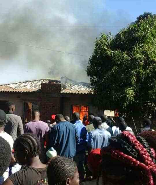 PICS: Fire Guts House In Kuwadzana…Fire Brigade Arrives With Empty Tank