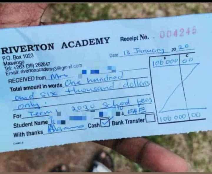 Riverton Academy school fees for 2020 is US$6 235 per term..Zim millionaires don't care, they can afford it