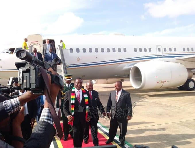 Mnangagwa arrives in Mozambique for President Nyusi inauguration