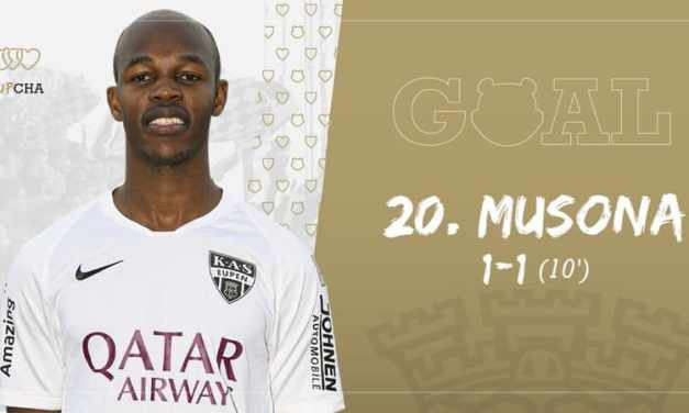 Knowledge Musona scores after 10 minutes for new club KAS Eupen