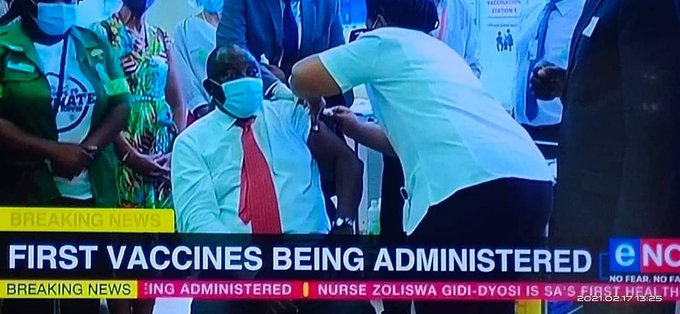 PRESIDENT Cyril Ramaphosa vaccinated live on TV..VIDEO