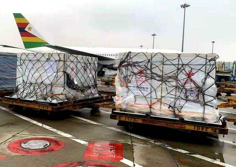 Sinopharm vaccines donated to Zimbabwe by China loaded into Air Zim plane