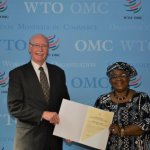 Stuart Comberbach presents letters of credence to WTO DG