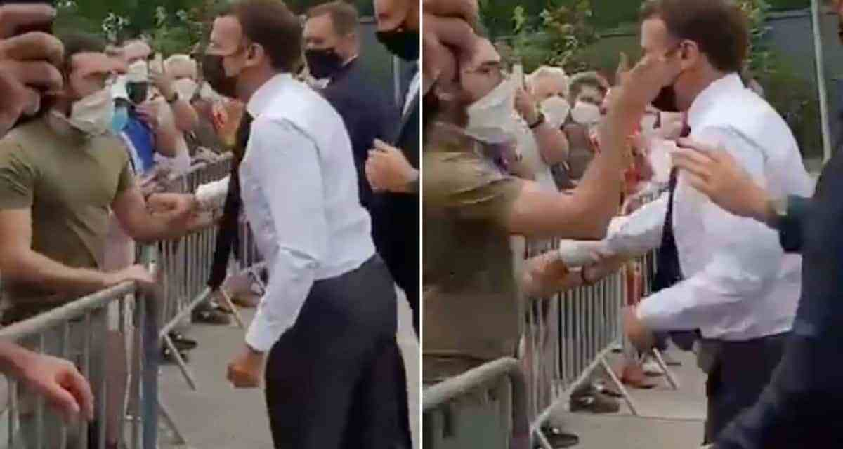 VIDEO: French President Emmanuel Macron slapped in the face by masked man
