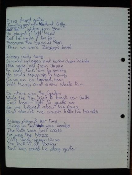 Original Lyrics Ziggy Stardust