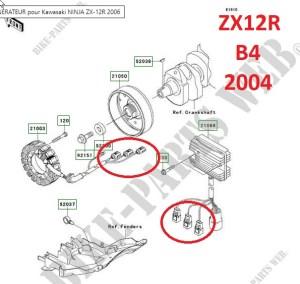 vue éclatée prise zx12r stator régulateur B3 2004 ; B4 2005; B6F 2006