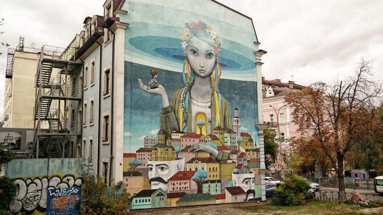 Mural przy Andrijewskim Zjezdzie