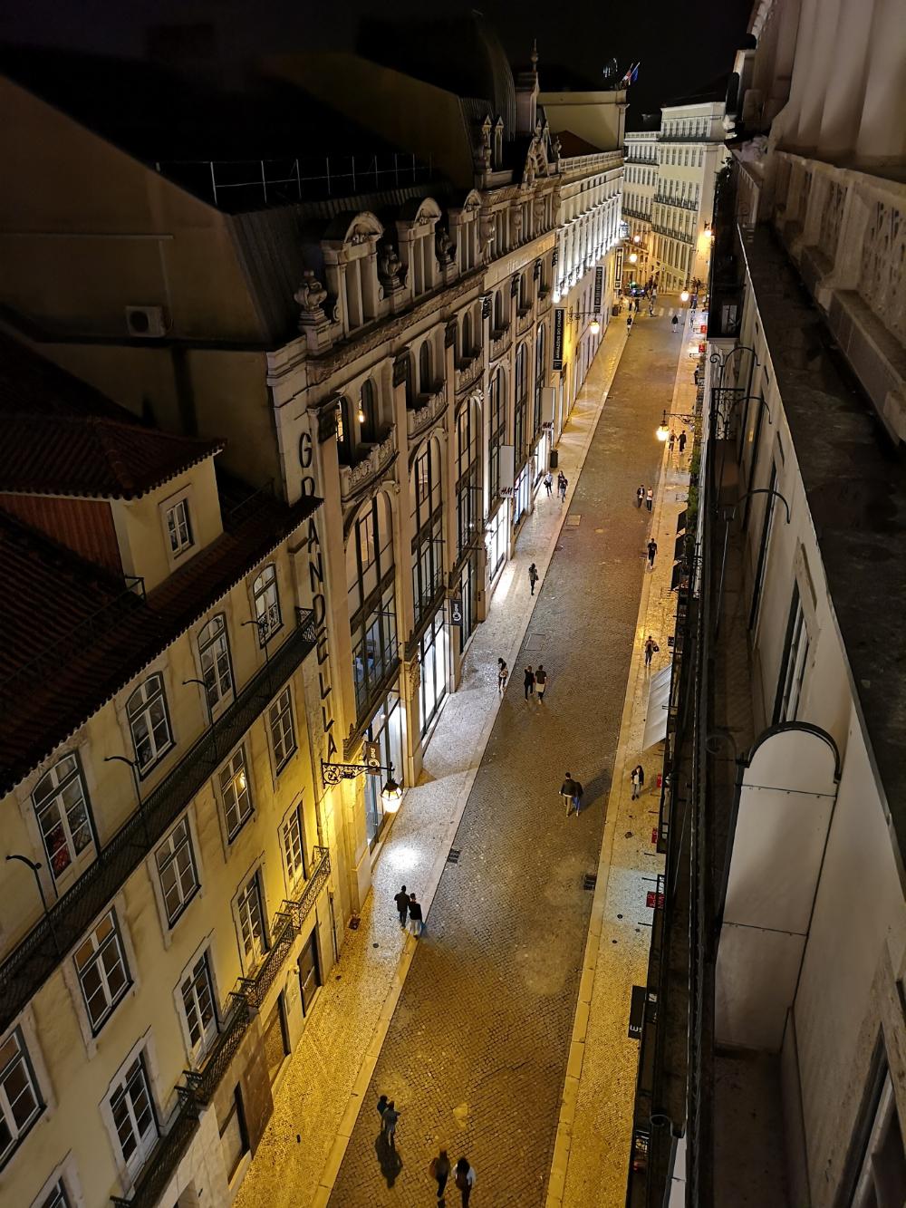 panorma rue augusta lizbona nocą zwiedzanie
