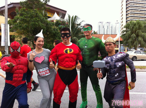 This must be the safest day for a girl to roam freely in the streets, what with all the superheroes ready to save the day!