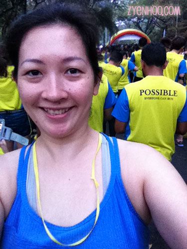 My selfie at the Start Line. I'm wearing the yellow ribbon that was handed out before the race started.