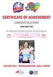 My e-certificate which came with my photo!