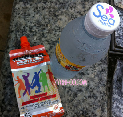 Isotonic drink and water bottle we received at the end of the run