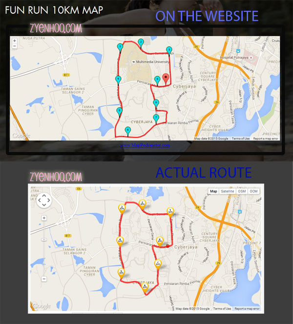 The actual map from their website vs the actual route that was run