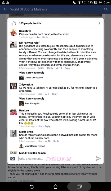 Some of the comments made on the Facebook announcements by irate registrants