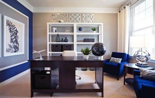 Elegant Blue Office Decor Ideas 06
