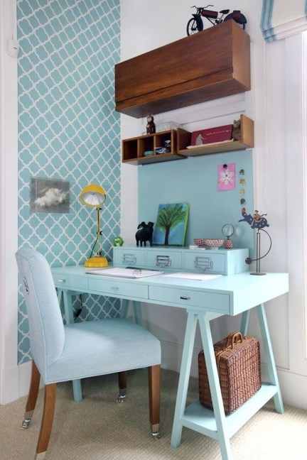 Elegant Blue Office Decor Ideas 14