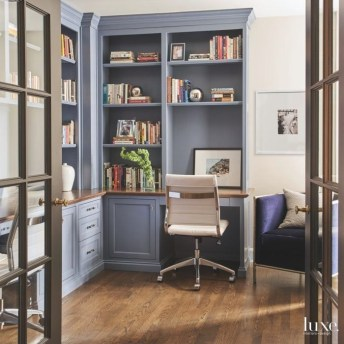 Elegant Blue Office Decor Ideas 31