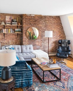 Elegant Exposed Brick Apartment Décor Ideas 47