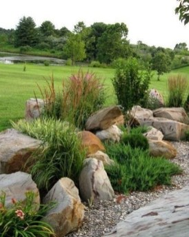 RSimple Rock Garden Decor Ideas For Front And Back Yard 36