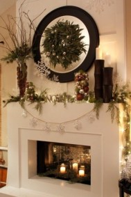 Creative Rustic Christmas Fireplace Mantel Décor Ideas 02