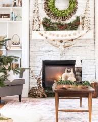 Creative Rustic Christmas Fireplace Mantel Décor Ideas 10