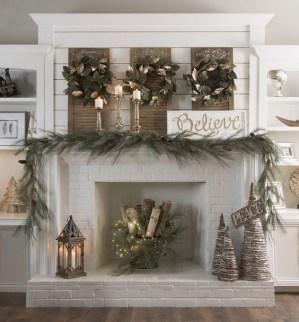 Creative Rustic Christmas Fireplace Mantel Décor Ideas 22