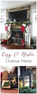 Creative Rustic Christmas Fireplace Mantel Décor Ideas 24