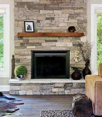 Fabulous Rock Stone Fireplaces Ideas For Christmas Décor 31