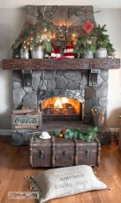 Gorgoeus Rustic Stone Fireplace With Christmas Décor 08