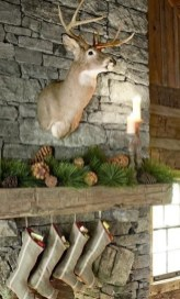 Gorgoeus Rustic Stone Fireplace With Christmas Décor 14