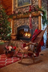 Gorgoeus Rustic Stone Fireplace With Christmas Décor 20