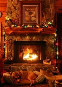 Gorgoeus Rustic Stone Fireplace With Christmas Décor 29