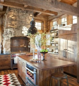Gorgoeus Rustic Stone Fireplace With Christmas Décor 32