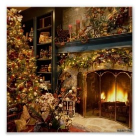 Gorgoeus Rustic Stone Fireplace With Christmas Décor 33