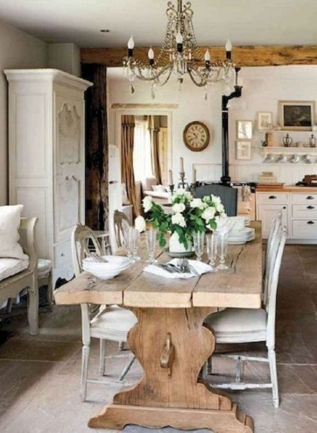 Wonderful French Country Dining Room Table Decor Ideas45