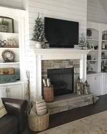 Unique Farmhouse Fireplace Design Ideas For Living Room13